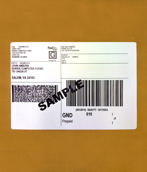 Barcode Label in use.